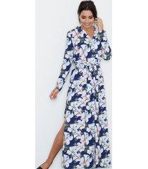 sukienka maxi z paskiem granatowa w kwiaty