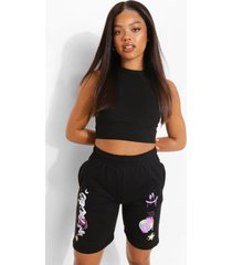 graffiti sweat shorts, black