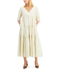 weekend max mara tevere tiered-panel maxi dress