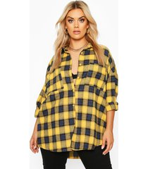 plus geborstelde geruite oversized boyfriend blouse, mosterd