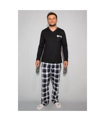pijama hygge homewear flanela preto e branco calça e blusa manga longa preta masculino