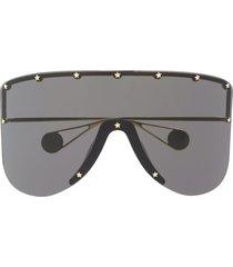 gucci eyewear mask studded sunglasses - grey