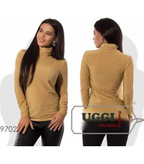 beautiful woman blouse/ turtleneck knitted with lurex long sleeve casual