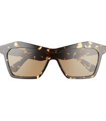 bottega veneta 99mm geometric shield sunglasses in havana/brown at nordstrom
