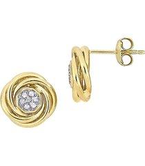 sonatina women's 14k yellow gold & white topaz stud earrings - gold