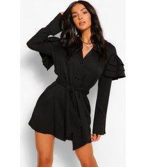 blouse jurk met ruches mouwen en ceintuur, black