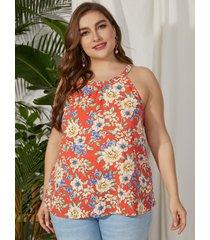 yoins plus talla halter estampado floral sin espalda diseño cami sin mangas recortado
