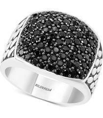 effy men's black spinel cluster ring in sterling silver
