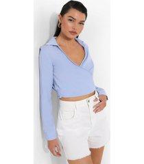 gedrapeerde wikkel blouse, powder blue