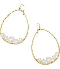 nova large 18k yellow gold & pearl drop hoop earrings