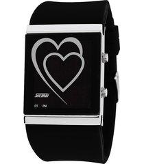 reloj con forma de corazón para hombres y mujeres-negro