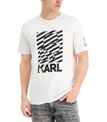 karl lagerfeld paris men's stripe profile logo graphic t-shirt