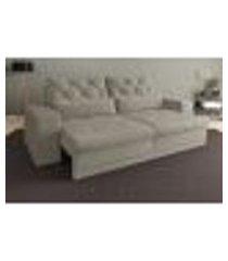 sofá 3 lugares net royale assento retrátil e reclinável areia 2,00m (l)