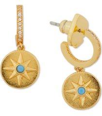kate spade new york gold-tone semiprecious gemstone nautical star charm pave huggie hoop earrings