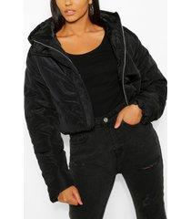 korte gewatteerde jas met panelen en capuchon, zwart