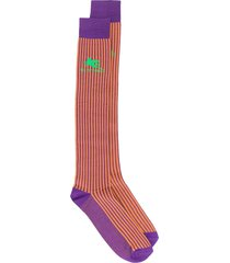 etro colour-block striped socks - orange