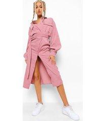 tall geweven utility midi blouse jurk, blush