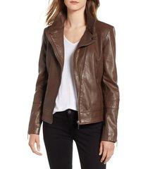 women's bernardo leather moto jacket, size x-large - brown