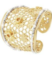 anello cuori in bronzo bicolore per donna