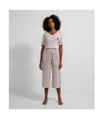 pijama em viscolycra com calça pantacourt estampada | lov | rosa | m