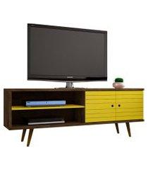 rack onix madeira rústica e amarelo móveis bechara