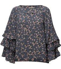 printed flared blouse blouse lange mouwen blauw by ti mo