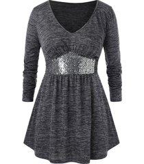 plus size tunic marled sequined t shirt
