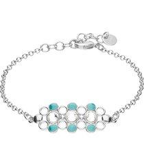bracciale in ottone rodiato con elemento con cristalli e smalto azzurro per donna