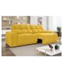 sofá 3 lugares net jaguar assento retrátil e reclinável canário 2,00m (l)