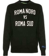 mc2 saint barth black man sweater roma nord vs roma sud print