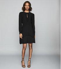 reiss roxy - long sleeved mini dress in black, womens, size 12