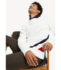 tommy hilfiger men's diagonal stripe sweater white/navy/red - xxl