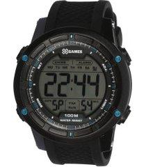 relógio digital x games xmppd422 - masculino - preto/azul