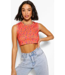 floral print rib cropped tank top, orange