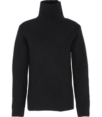 fold over turtleneck rib knit sweater