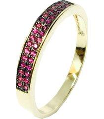 anel kumbayá meia aliança semijoia banho de ouro 18k cravaçáo de zircônia rubi detalhe em ródio negro - tricae