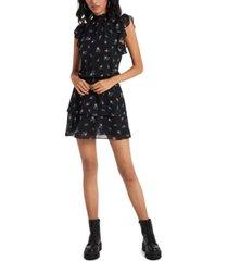 1.state smocked-neck calico-printed mini dress