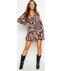 petite tiger print smock dress, tan