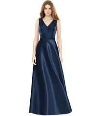 alfred sung satin a-line gown