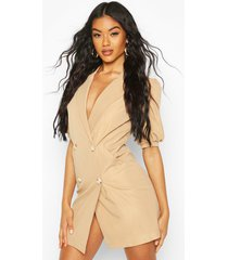 puff sleeve blazer dress, taupe