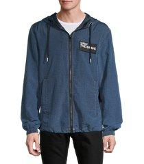 diesel men's j-headin toggle-hem jacket - classic blue - size xl