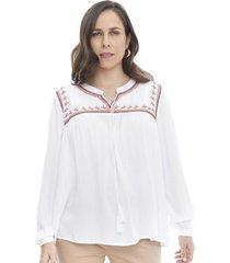 blusa bordado manga larga blanco  corona
