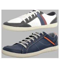 sapatênis kit 2 pares dexshoes casual branco/azul