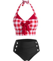 plus size halter v neck bowknot plaid print buttons bikini set swimwear