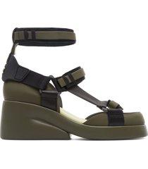 camper lab kaah, sandali donna, verde/nero/grigio, misura 41 (eu), k400364-002