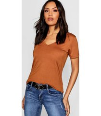 basic super soft v neck t-shirt, camel