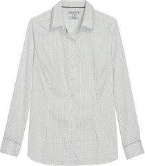 camisa dudalina manga longa tricoline estampado feminina (estampado, 40)