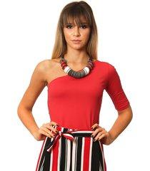 blusa ficalinda de um ombro só meia manga vermelha