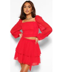 dobby mesh blouson sleeve co-ord top, red