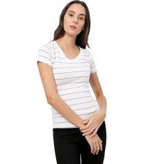camiseta v a rayas color gris, talla xl
